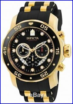 Invicta Men's Watch Pro Diver Scuba Chronograph Black Dial Two Tone Strap 6981