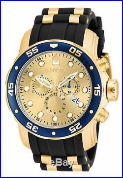 Invicta Men's Watch Pro Diver Scuba Chronograph Gold Tone Dial Strap 17881