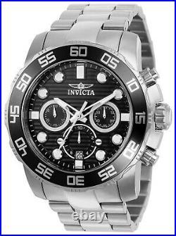 Invicta Men's Watch Pro Diver Scuba Quartz Chronograph Black Dial Bracelet 22226
