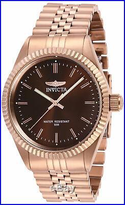 Invicta Men's Watch Specialty Quartz Brown Dial Rose Gold Steel Bracelet 29393