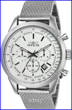 Invicta Men's Watch Speedway Chronograph Silver Tone Dial Mesh Bracelet 25222