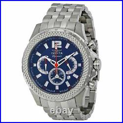 Invicta Men's Watch Stainless Steel Case Blue Dial Quartz Chrono Bracelet 7458