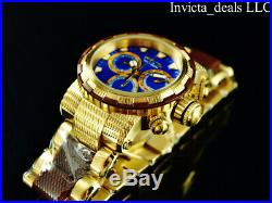 Invicta Mens 46mm CAPSULE Swiss Chronograph Blue Dial Gold & Brown Tone SS Watch