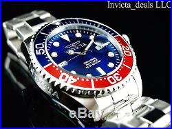 Invicta Mens 47mm Grand Diver Quartz Blue Dial Silver Tone Stainless Steel Watch