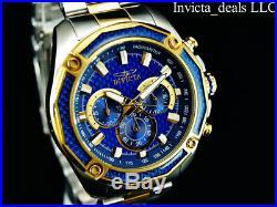 Invicta Mens 48mm Aviator Chronograph Blue Glass Fiber Dial 18K Gold 2Tone Watch