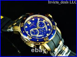 Invicta Mens 48mm PRO DIVER SCUBA Chronograph BLUE Dial 18K Gold Plated SS Watch