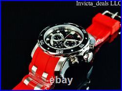 Invicta Mens 48mm Pro Diver SCUBA Chrono BLACK DIAL Jellyfish Orange Strap Watch