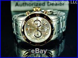 Invicta Mens 48mm Pro Diver SCUBA Chronograph Silver Dial Gold/Silver Tone Watch