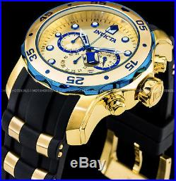 Invicta Mens 48mm Pro Diver Scuba Chronograph Gold n Blue Gold Plated 200M Watch