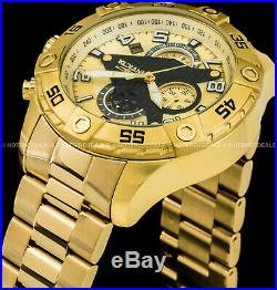 Invicta Mens 48mm S1 Rally Chronograph 18K Gold Plated Stainless Steel Brc Watch