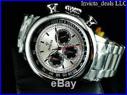 Invicta Mens 48mm Vintage Antique Silver Quartz Chronograph Silver Dial SS Watch