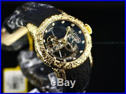 Invicta Mens 50mm Empire Dragon Sapphire Crystal Automatic Skeleton 18KGIP Watch
