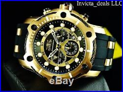 Invicta Mens 50mm Nautical Bolt Chronograph Black/Gold Dial Gold Plated SS Watch
