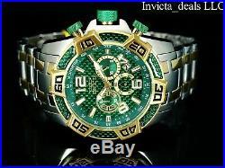 Invicta Mens 50mm Pro Diver SCUBA Chrono Green Fiber Glass Gold Tone 2Tone Watch