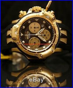 Invicta Mens 50mm Subaqua Poseidon Chronograph Gold-Tone Black Dial Rubber Watch