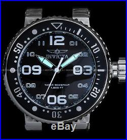 Invicta Mens 52mm Grand Pro Diver Black Dial Stainless Steel Black Strap Watch