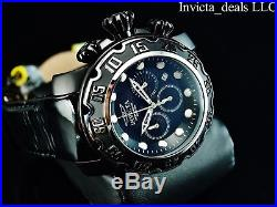 Invicta Mens 52mm Lupah Espadon Chronograph COMBAT Triple Black SS Leather Watch