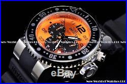 Invicta Mens 52mm Pro Diver Ocean Voyage Orange Black Chrono Silicone SS Watch