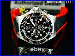 Invicta Mens 52mm Pro Diver TURBO Chronograph BLACK DIAL Black/Red Tone SS Watch