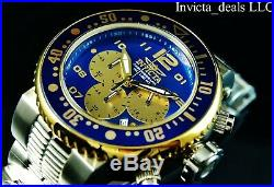 Invicta Mens 52mm XL GRAND Pro Diver Chronograph 18K Gold Plated Blue Dial Watch