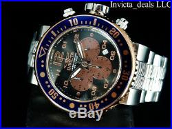 Invicta Mens 52mm XL GRAND Pro Diver Chronograph Black Dial Rose Tone SS Watch