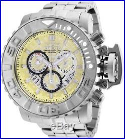 Invicta Mens 58MM Sea Hunter Gen II Yellow Dial Swiss Silver SS Bracelet Watch