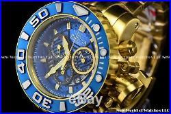 Invicta Mens 70mm Full Sea Hunter III Blue Swiss Movement 24k Gold Plated Watch