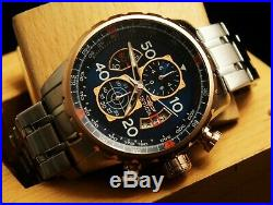 Invicta Mens Aviator Blue Dial 18K RoseGold Plated Chronograph SS Bracelet Watch