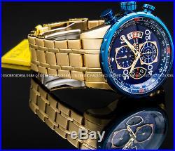 Invicta Mens Aviator Chronograph Blue Bezel Gold Two Tone 48mm Watch 19173