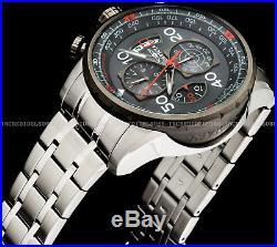 Invicta Mens Aviator Chronograph Gunmetal Dial Silver Bracelet SS Watch 17204