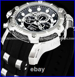 Invicta Mens BOLT CHRONOGRAPH Silver Black Dial Strap SS 50mm Watch 26764