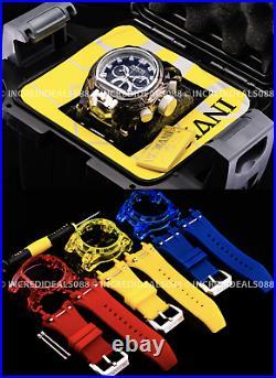 Invicta Mens Bolt Zeus Magnum Anatomic Chronograph Black Silver Watch with4 Strap