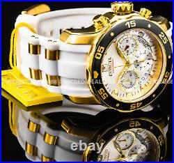 Invicta Mens PRO DIVER SCUBA Chronograph 18Kt Gold Silver Dial White Strap Watch