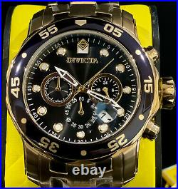 Invicta Mens PRO DIVER SCUBA Chronograph Black Dial 18Kt Gold 48mm SS Watch 0072