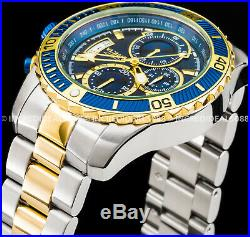 Invicta Mens Pro Diver Chronograph Blue Dial Silver & Gold Two Tone Watch 22415