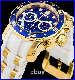 Invicta Mens Pro Diver SCUBA Chronograph 18Kt Gold Blue Dial White Strap Watch