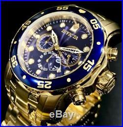 Invicta Mens Pro Diver Scuba Chronograph Blue Dial 18K Gold Bracelet Watch 0073