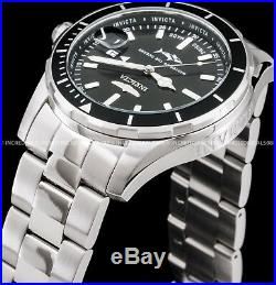 Invicta Mens Pro Diver Swiss Made Black Dial Silver Bracelet SS 44mm Watch 25806