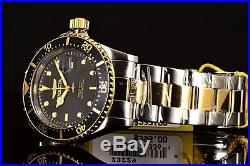 Invicta Mens Pro Diver Two-Tone 18K Gold Plated 43MM Gray Dial SS Bracelet Watch