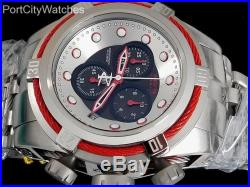 Invicta Mens Reserve 53mm Bolt Zeus Swiss Chronograph S. Steel Watch Red Accents