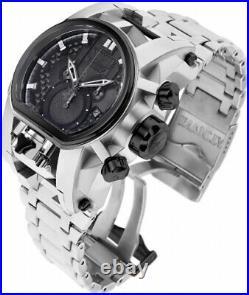 Invicta Mens Reserve Bolt Zeus Magnum 52MM Black Dual Dial SS Bracelet Watch