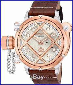 Invicta Mens Russian Diver Nautilus Swiss Made ETA 6497 Mechanical Leather Watch