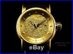 Invicta Mens S1 Yakuza Dragon 24J Automatic 18K Matte Gold IP Brown Strap Watch