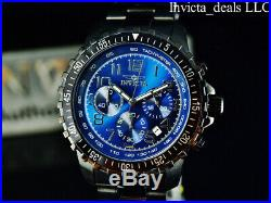 Invicta Mens Specialty PILOT Chronograph COMBAT ALL TRIPLE BLACK Blue Dial Watch