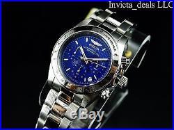 Invicta Mens Speedway Professional Chrono Silver Tone Persian Blue Dial SS Watch