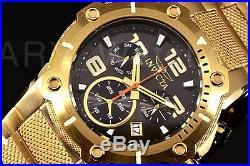Invicta Mens Watch 19530 Speedway Black Dial Swiss Chronograph 18k Gold Bracelet