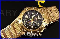 Invicta Mens Watch 19530 Speedway Black Dial Swiss Chronograph 18k Gold Bracelet