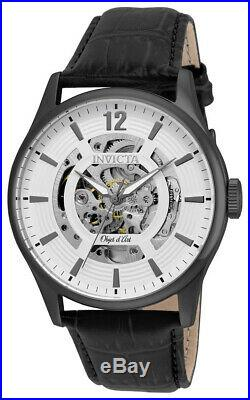 Invicta Objet d' Art 22597 Men's Round White Automatic Analog Leather Watch