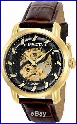 Invicta Objet d' Art 22634 Men's Round Skeleton Automatic Brown Leather Watch