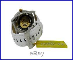 Invicta Objet d' Art 22635 Men's White Round Skeleton Automatic Leather Watch